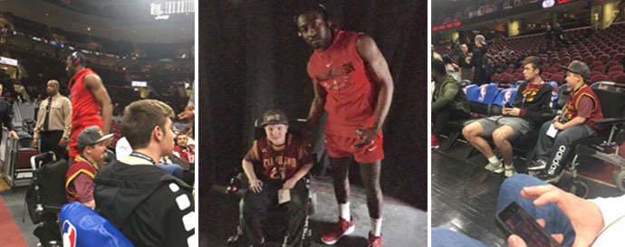Jackson's Story, Dot's Tots, photo of Jackson at the Cavs game courtside